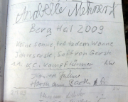 Hausbergwächter, Wildensteiner Gebiet, Gipfelbuchspruch 2009