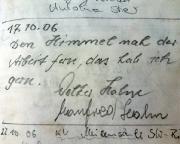 Hausbergwächter, Wildensteiner Gebiet, Gipfelbuchspruch 2006
